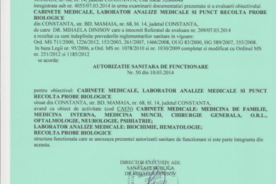 Ministry of Health sanitary authorization